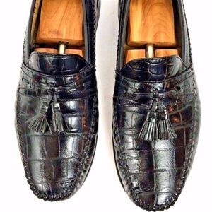 Men's Black Leather Reptile Print Tassel Loafers